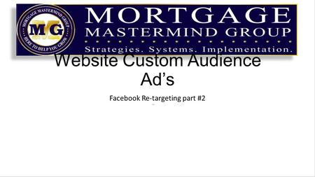 Website Custom Audience Ad's Facebook Re-targeting part #2.