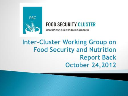  Provide Operational/Coordination/Technical Direction/Guidance to the gFSC on key areas of synergy between the Nutrition and Food Security Clusters in.