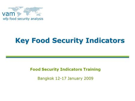 Key Food Security Indicators Food Security Indicators Training Bangkok 12-17 January 2009.