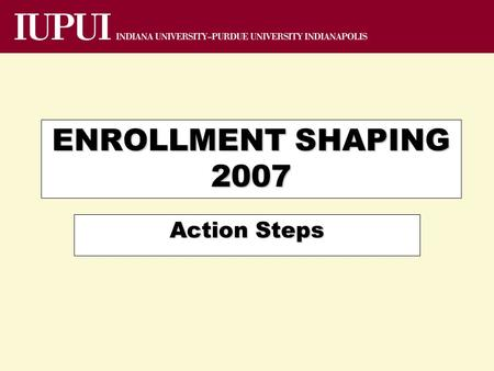 ENROLLMENT SHAPING 2007 Action Steps. Admitted Students Point-in-cycle Trend--Census Source: