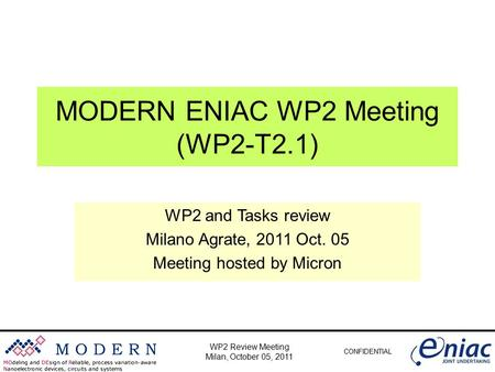 CONFIDENTIAL WP2 Review Meeting Milan, October 05, 2011 MODERN ENIAC WP2 Meeting (WP2-T2.1) WP2 and Tasks review Milano Agrate, 2011 Oct. 05 Meeting hosted.