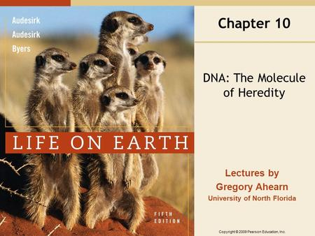 Copyright © 2009 Pearson Education, Inc. Lectures by Gregory Ahearn University of North Florida Chapter 10 DNA: The Molecule of Heredity.