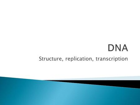 Structure, replication, transcription.  DNA is composed of nucleotides- which contain a phosphate group, a sugar (deoxyribose), and a nitrogen containing.