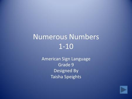 Numerous Numbers 1-10 American Sign Language Grade 9 Designed By Taisha Speights.