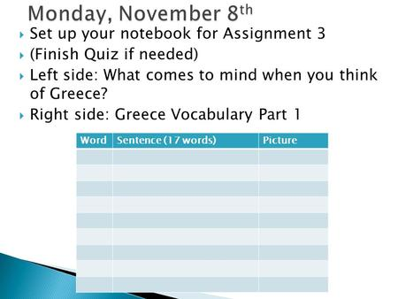  Set up your notebook for Assignment 3  (Finish Quiz if needed)  Left side: What comes to mind when you think of Greece?  Right side: Greece Vocabulary.