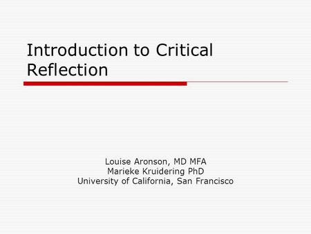 Introduction to Critical Reflection