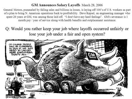 GM Announces Salary Layoffs March 28, 2006 General Motors, pummeled by falling sales and billions in losses, is laying off 100's of U.S. workers as part.