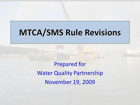 Prepared for Water Quality Partnership November 19, 2009 MTCA/SMS Rule Revisions.