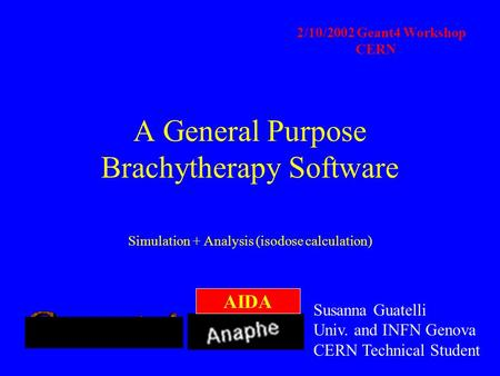 A General Purpose Brachytherapy Software Simulation + Analysis (isodose calculation) 2/10/2002 Geant4 Workshop CERN Susanna Guatelli Univ. and INFN Genova.