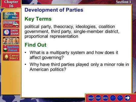 Section 1 Introduction-1 Development of Parties Key Terms political party, theocracy, ideologies, coalition government, third party, single-member district,