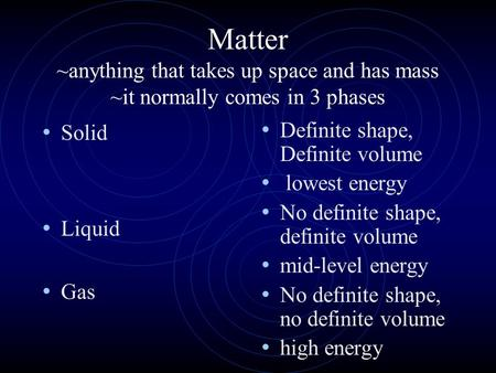 Matter ~anything that takes up space and has mass ~it normally comes in 3 phases Solid Liquid Gas Definite shape, Definite volume lowest energy No definite.