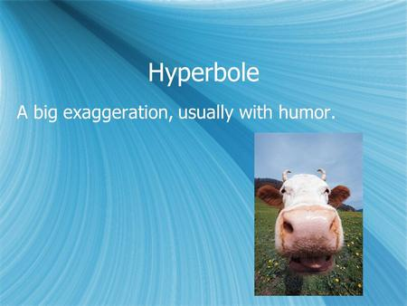 Hyperbole A big exaggeration, usually with humor..