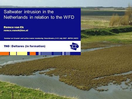 Remco van Ek Saltwater intrusion in the Netherlands in relation to the WFD Seminar on Ground- and surface water monitoring Smardzewice,