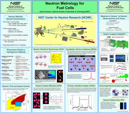 Neutron Metrology for Fuel Cells David Jacobson, National Institute of Standards & Technology (NIST) Phenomena Probed in Hydrogenous Materials Very large.