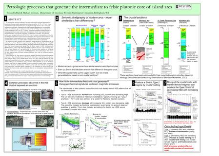 ABSTRACT 1 Petrologic processes that generate the intermediate to felsic plutonic core of island arcs Susan DeBari & Michael Johnsen, Department of Geology,