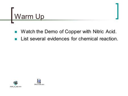 Warm Up Watch the Demo of Copper with Nitric Acid. List several evidences for chemical reaction.