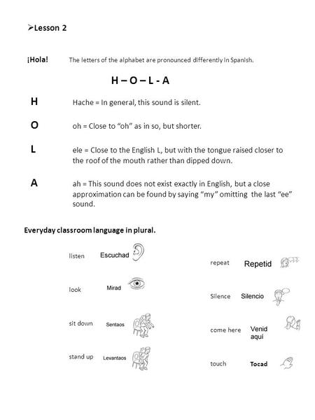  Lesson 2 ¡Hola! The letters of the alphabet are pronounced differently in Spanish. H – O – L - A H Hache = In general, this sound is silent. O oh = Close.