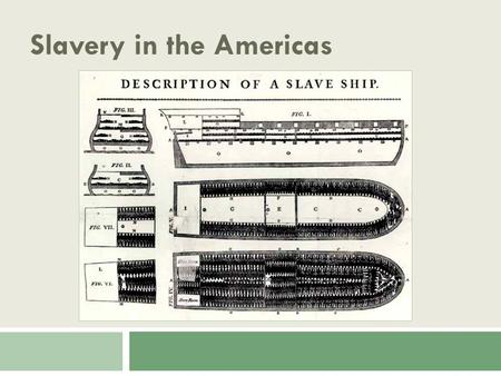 "Slavery in the Americas. Today's Objectives  Describe the Triangle Trade and what was traded.  Explain what is meant by the ""middle passage.""  Describe."