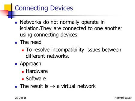 25-Oct-15Network Layer Connecting Devices Networks do not normally operate in isolation.They are connected to one another using connecting devices. The.