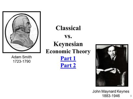 Adam Smith 1723-1790 John Maynard Keynes 1883-1946 1 Classical vs. Keynesian Economic Theory Part 1 Part 2.