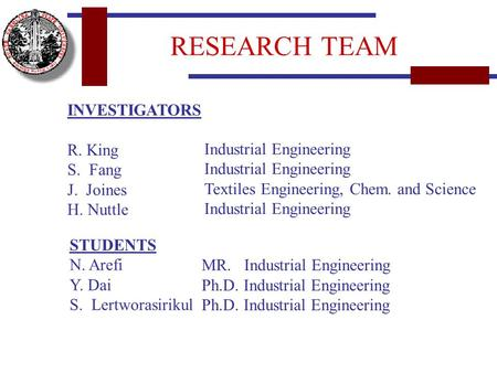 INVESTIGATORS R. King S. Fang J. Joines H. Nuttle STUDENTS N. Arefi Y. Dai S. Lertworasirikul Industrial Engineering Textiles Engineering, Chem. and Science.