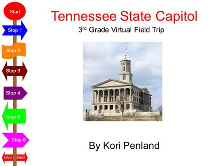 Start Stop 2 Stop 3 Stop 4 Stop 5 Stop 6 Stop 1 NextBack Tennessee State Capitol By Kori Penland 3 rd Grade Virtual Field Trip.