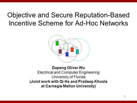 1 Objective and Secure Reputation-Based Incentive Scheme for Ad-Hoc Networks Dapeng Oliver Wu Electrical and Computer Engineering University of Florida.