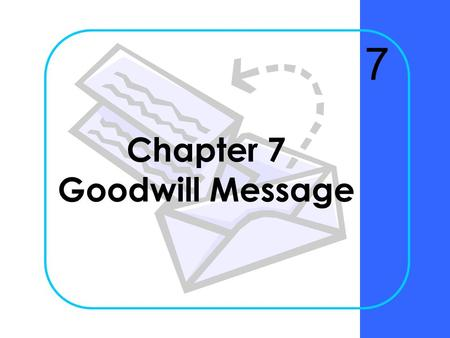 Chapter 7 Goodwill Message 7 Chapter 7Krizan Business Communication ©20052 Why are congratulation messages effective in building goodwill?