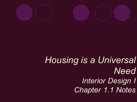 Housing is a Universal Need Interior Design I Chapter 1.1 Notes.