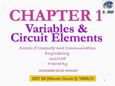 1 CHAPTER 1 EKT 101 [Electric Circuit I]: V2010/11 School of Computer and Communication Engineering, UniMAP Prepared By: Prepared By: Shahadah binti Ahmad.
