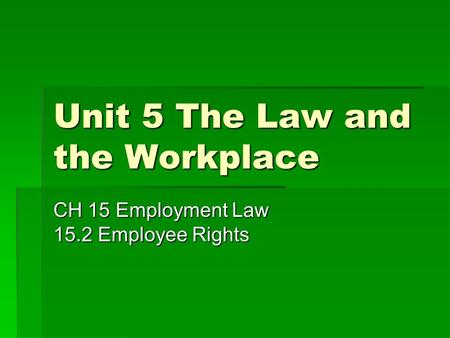 Unit 5 The Law and the Workplace CH 15 Employment Law 15.2 Employee Rights.