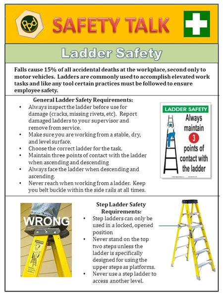 Falls cause 15% of all accidental deaths at the workplace, second only to motor vehicles. Ladders are commonly used to accomplish elevated work tasks and.