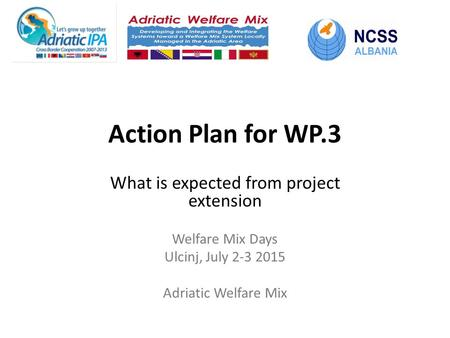 Action Plan for WP.3 What is expected from project extension Welfare Mix Days Ulcinj, July 2-3 2015 Adriatic Welfare Mix.