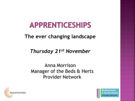 The ever changing landscape Thursday 21 st November Anna Morrison Manager of the Beds & Herts Provider Network.