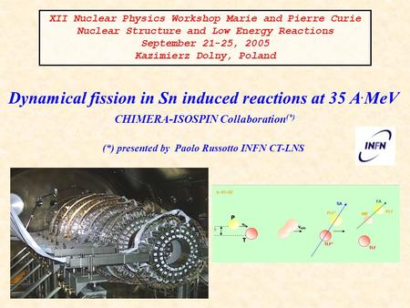 Dynamical fission in Sn induced reactions at 35 A. MeV CHIMERA-ISOSPIN Collaboration (*) (*) presented by Paolo Russotto INFN CT-LNS XII Nuclear Physics.