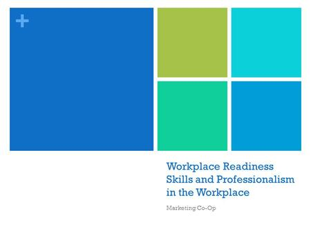 + Workplace Readiness Skills and Professionalism in the Workplace Marketing Co-Op.