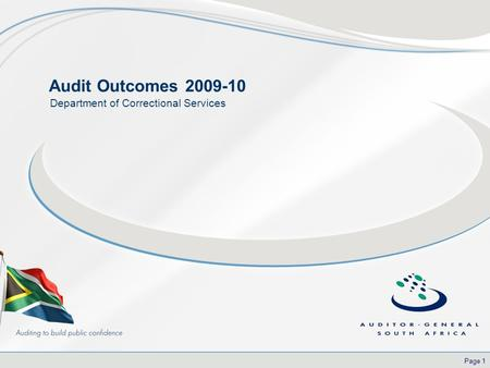 Page 1 Audit Outcomes 2009-10 Department of Correctional Services.