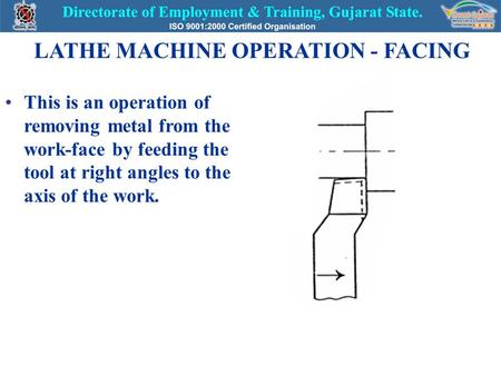 LATHE MACHINE OPERATION - FACING This is an operation of removing metal from the work-face by feeding the tool at right angles to the axis of the work.