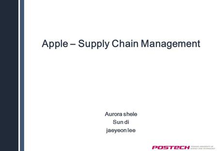 Apple – Supply Chain Management