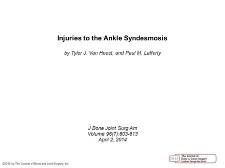 Injuries to the Ankle Syndesmosis