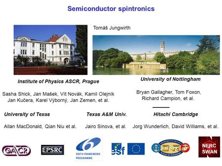 Semiconductor spintronics Tomáš Jungwirth University of Nottingham Bryan Gallagher, Tom Foxon, Richard Campion, et al. Hitachi Cambridge Jorg Wunderlich,