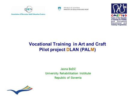 Vocational Training in Art and Craft Pilot project DLAN (PALM) Jasna Božič University Rehabilitation Institute Republic of Slovenia.