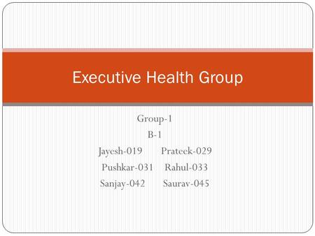 Group-1 B-1 Jayesh-019Prateek-029 Pushkar-031Rahul-033 Sanjay-042Saurav-045 Executive Health Group.