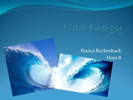 Bianca Rockenback Hour 8. How Tidal Energy Works Tidal energy is energy obtained from changing sea levels. This renewable energy source has great potential.