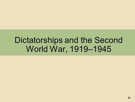 Dictatorships and the Second World War, 1919–1945 28.
