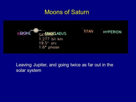 Moons of Saturn Leaving Jupiter, and going twice as far out in the solar system.