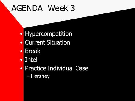 AGENDA Week 3 Hypercompetition Current Situation Break Intel Practice Individual Case –Hershey.