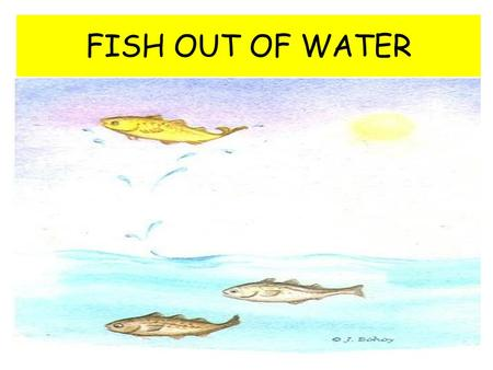 "FISH OUT OF WATER. WHAT DOES IT ALL MEAN? On your graphic organizer, answer the questions: What does ""fish out of water"" mean? Have you ever felt like."