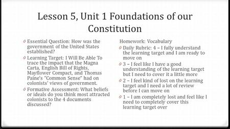 Lesson 5, Unit 1 Foundations of our Constitution 0 Essential Question: How was the government of the United States established? 0 Learning Target: I Will.