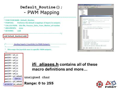 Default_Routine(); - PWM Mapping /******************************************************************** * FUNCTION NAME: Default_Routine * PURPOSE: Performs.